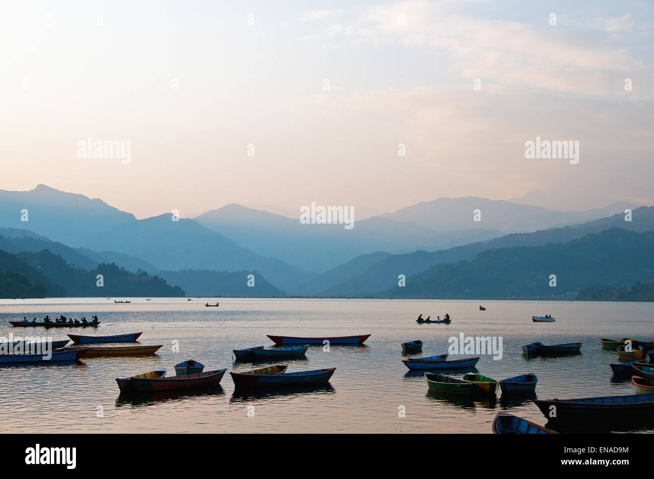 Phewa Lake was slightly enlarged by damming. It is in danger of silting up because of the inflow during the monsoon - Stock Image