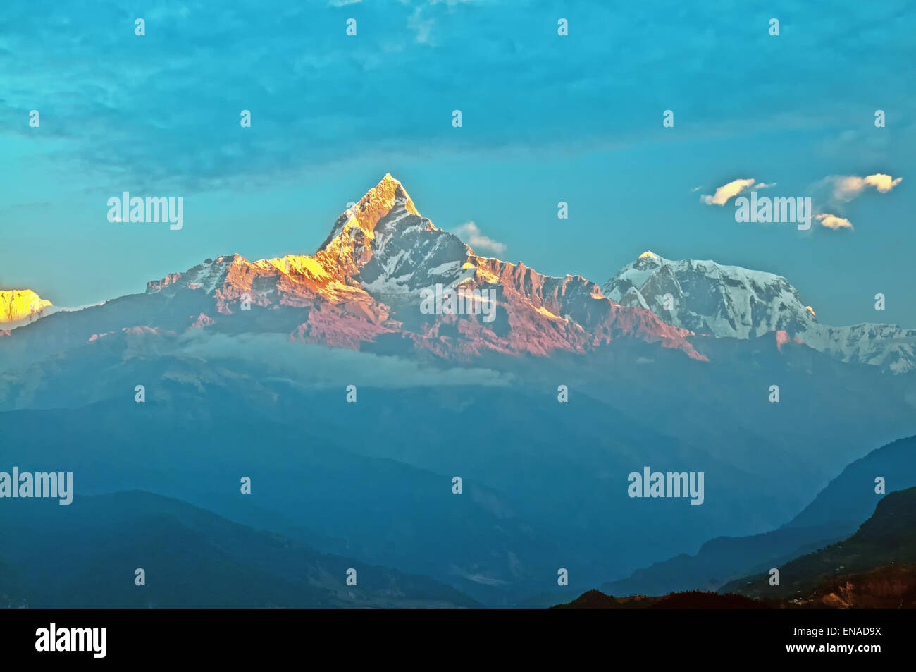 Annapurna Himalayan at sunrise. - Stock Image