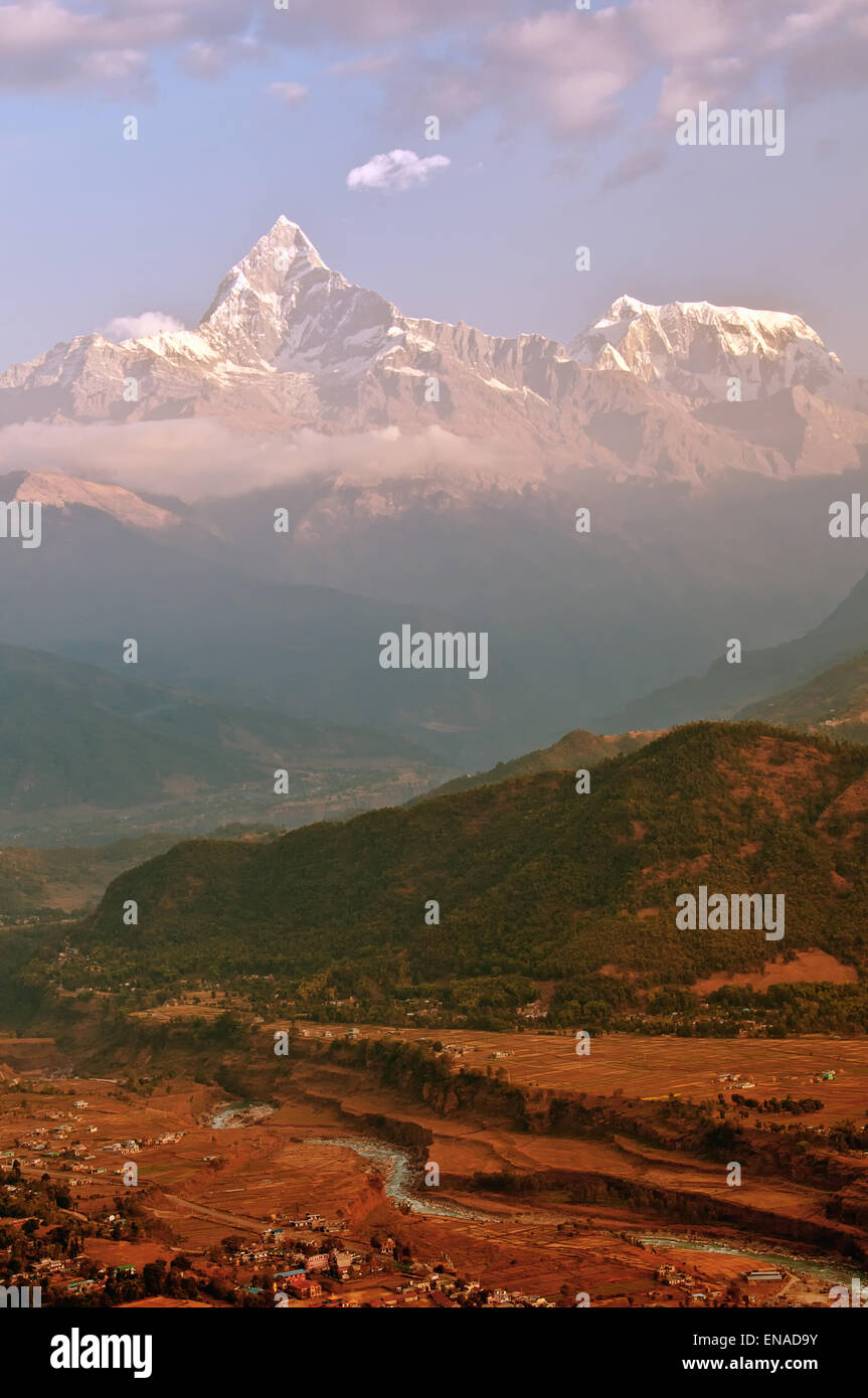 In Pokhara, the holy unclimbed mountain Macchapucchre (or also known as Fishtail Mountain) - Stock Image