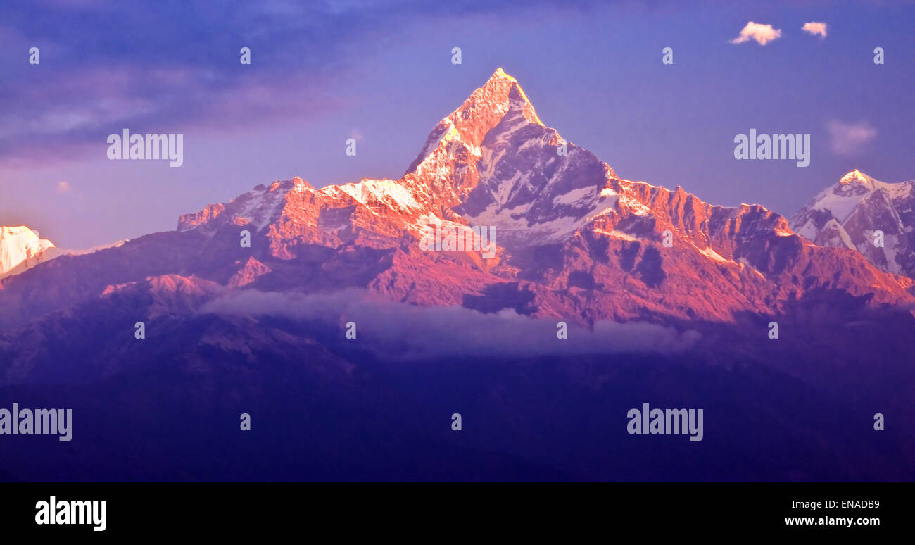 In Pokhara, the holy unclimbed mountain Macchapucchre (or also known as Fishtail Mountain), located in the middle - Stock Image