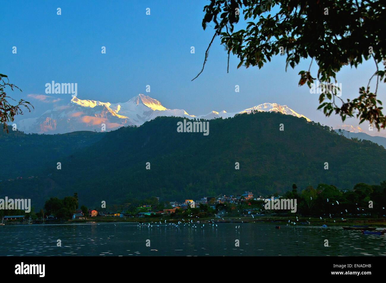 Annapurna range from Phewa lake, Pokhara, Nepal. - Stock Image