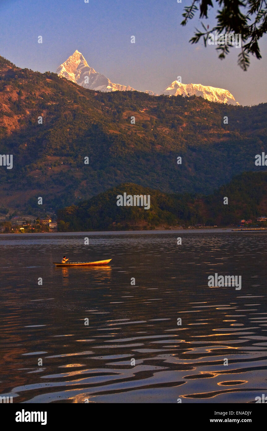 Phewa Lake was slightly enlarged by damming. It is in danger of silting up because of the inflow during the monsoon Stock Photo