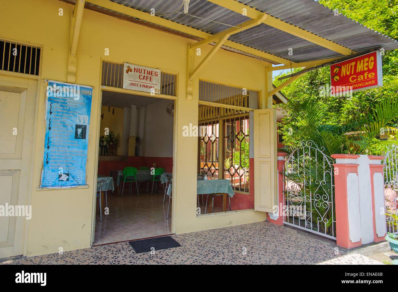 The Nutmeg Cafe in Banda Neira island. - Stock Image