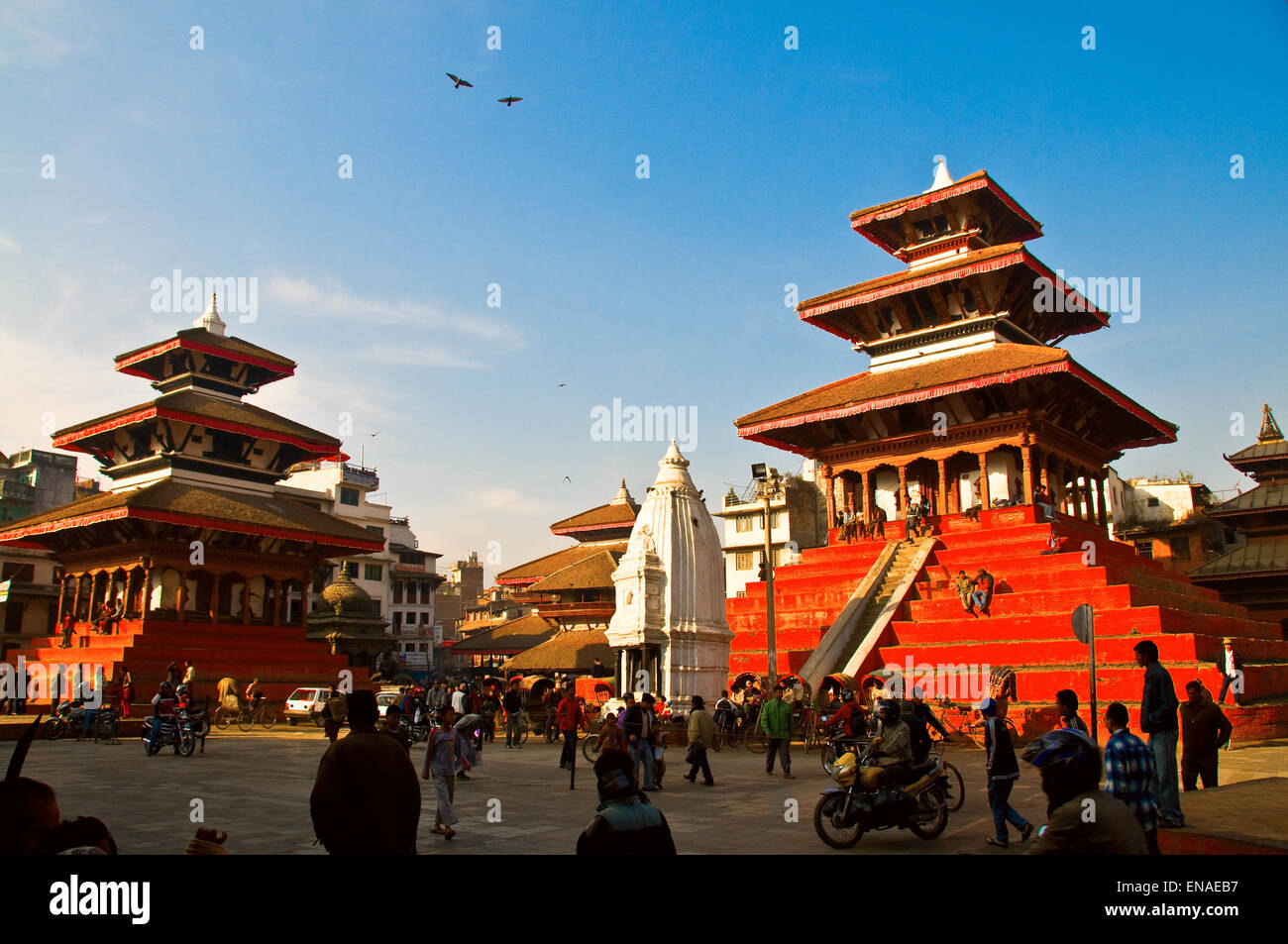 Kathmandu's World Heritage Site of Durbar Square is a spectacular complex of courtyards, temples and palaces - Stock Image
