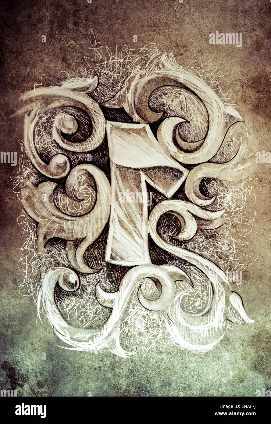 4689ee2b3c42b Sketch of tattoo art, one number, hand made Stock Photo: 81980742 ...