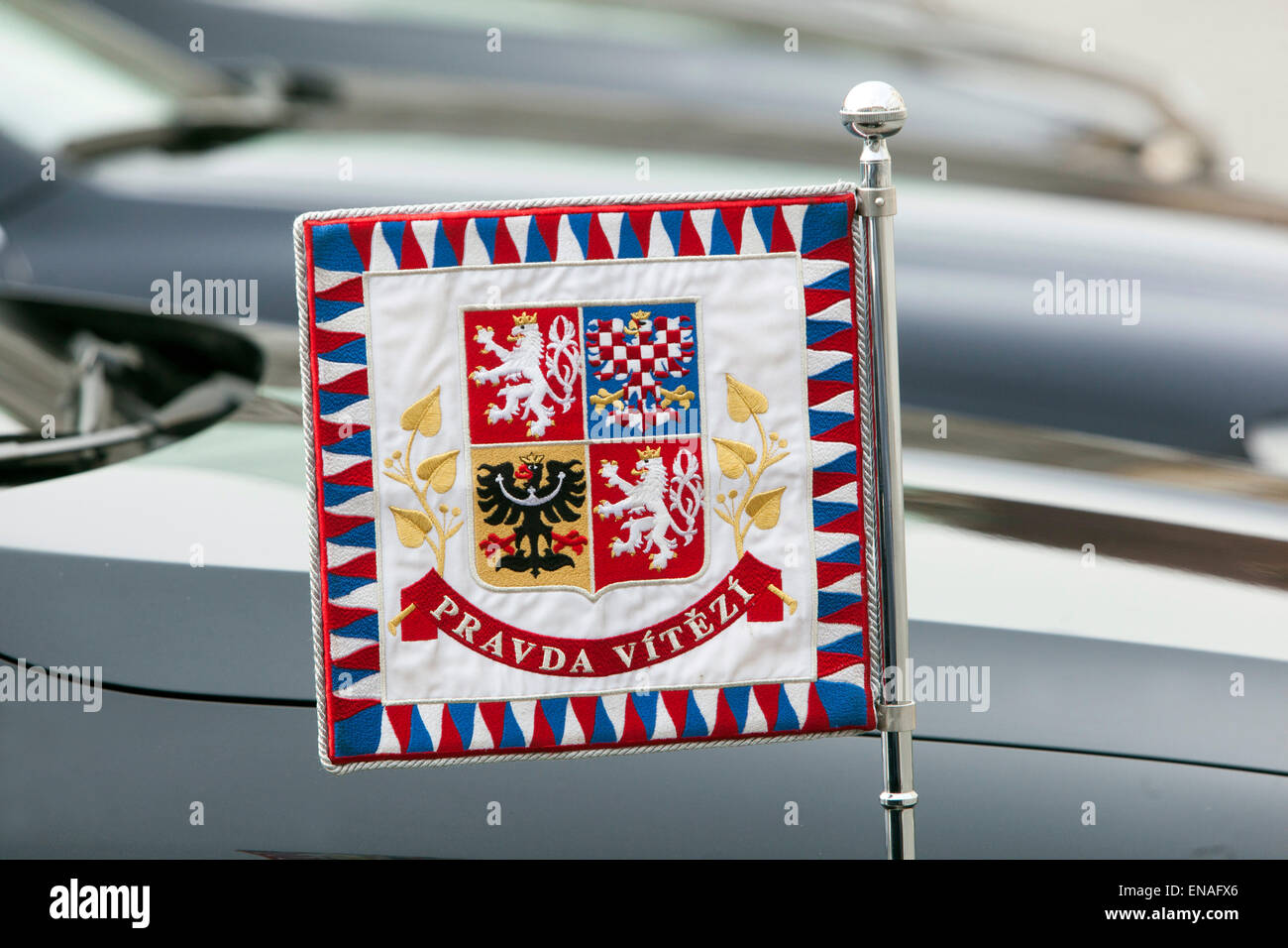 President of the Czech Republic banner with the inscription Pravda vitezi - The Truth wins, state symbol of CR - Stock Image