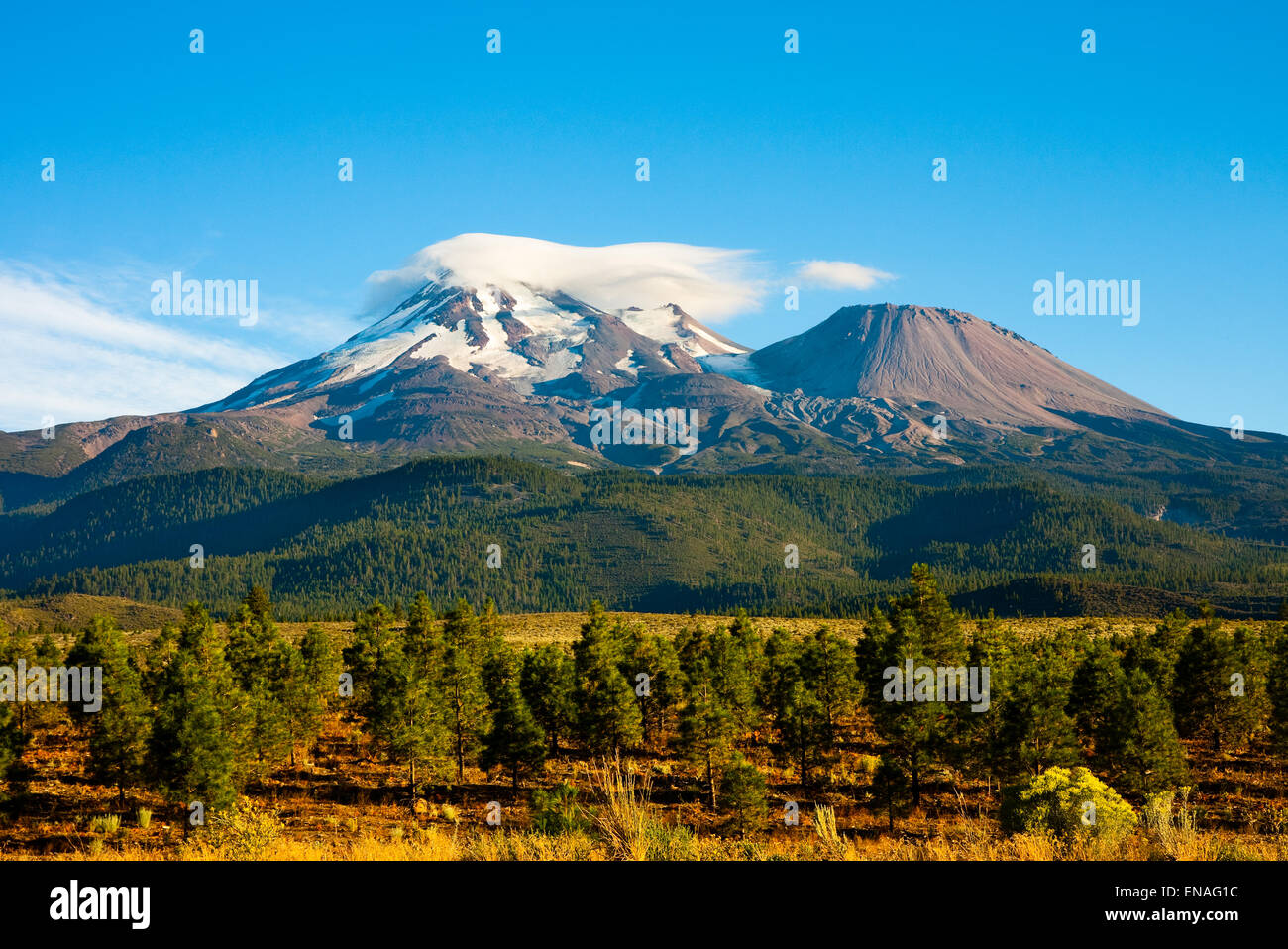 Clouds on top of Mount Shasta, California - Stock Image