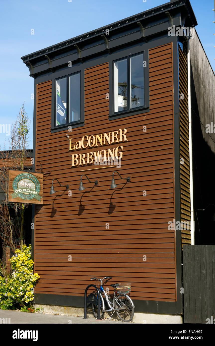 La Conner Brewing company building in La Conner, Washington state, USA - Stock Image