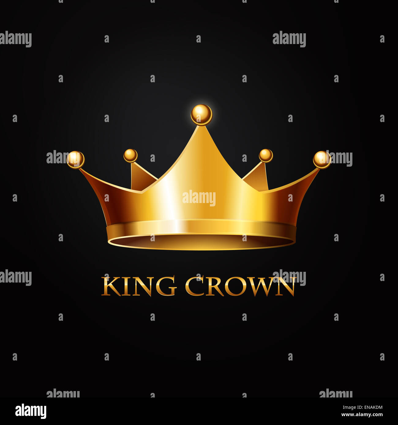 Logo With Golden Crown: Gold King Crown On Black Background Stock Photo