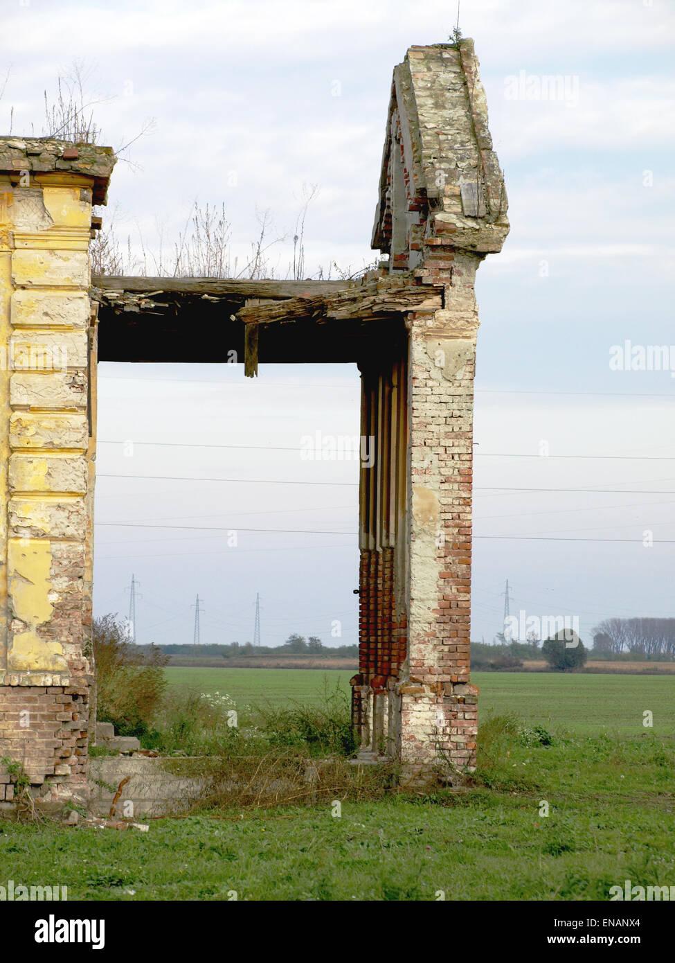 Demolished and destroyed the abandoned castle - Stock Image