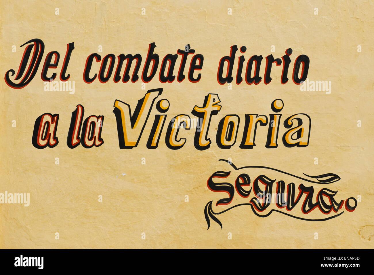 Revolutionary slogan, Remedios, Santa Clara Province, Cuba, Central America - Stock Image