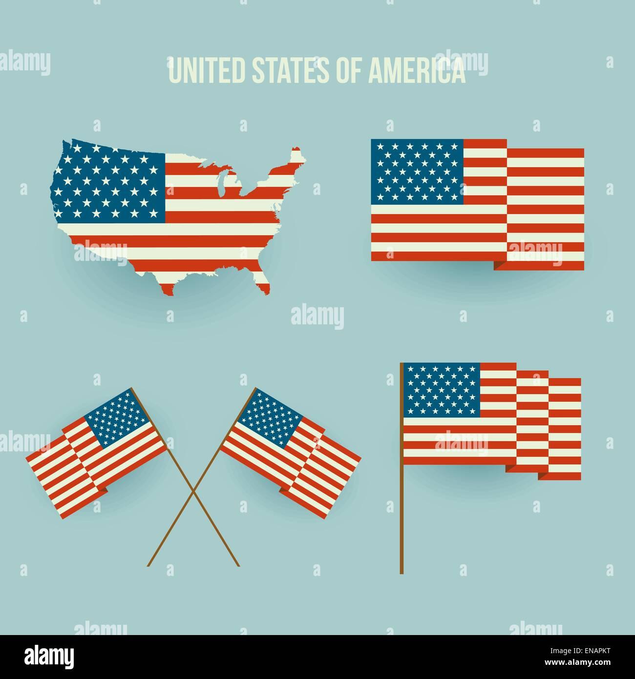 vector set of american flag and map flat design stock vector art rh alamy com US Flag Vector Black 5.0 Star US Flag Vector Art