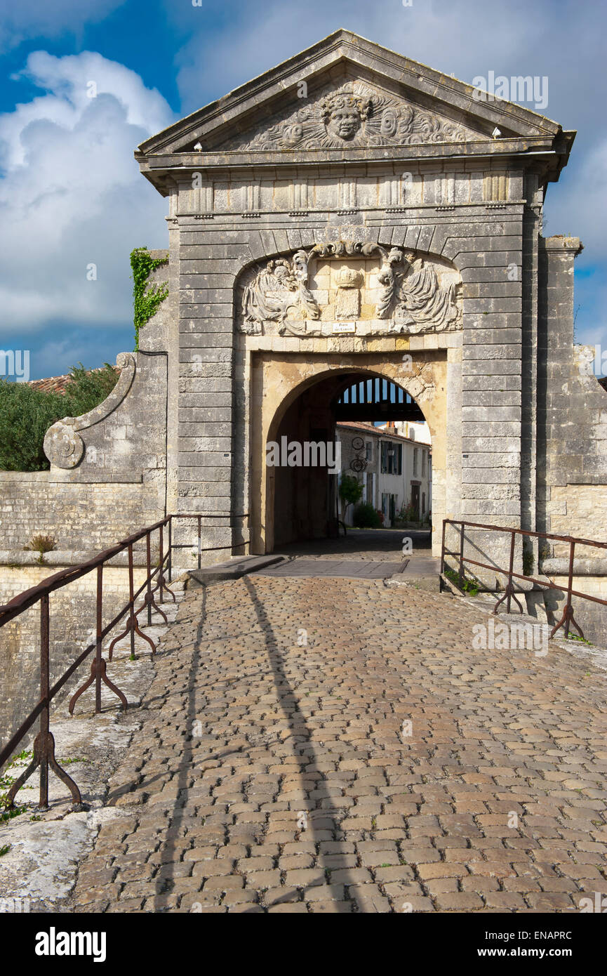 Saint Martin fortification, Designed and constructed by Vauban, Door of the Campani, Ile de Re, France - Stock Image