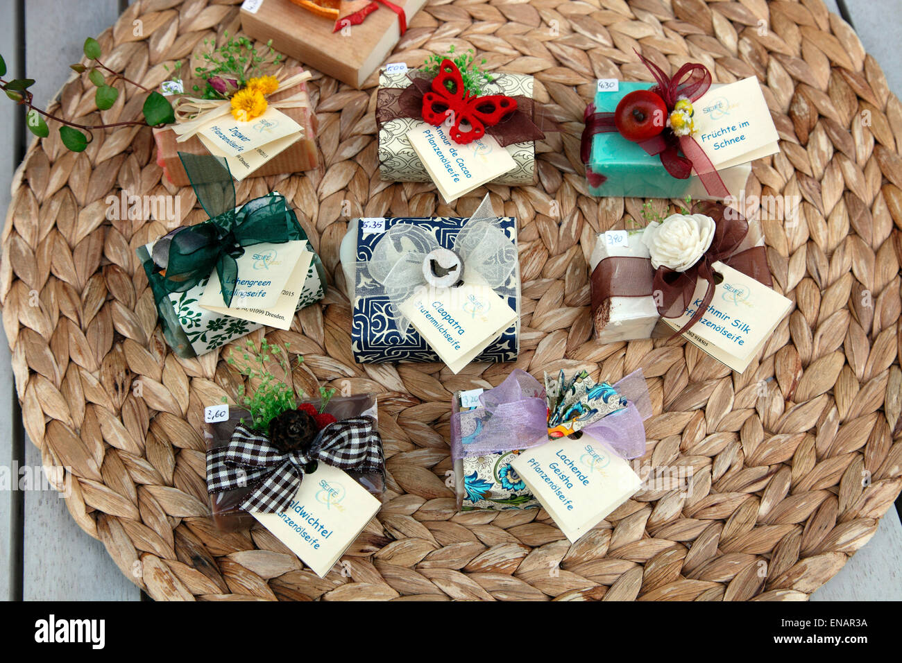 Handmade Seife artisan soaps for sale in Weimar. - Stock Image