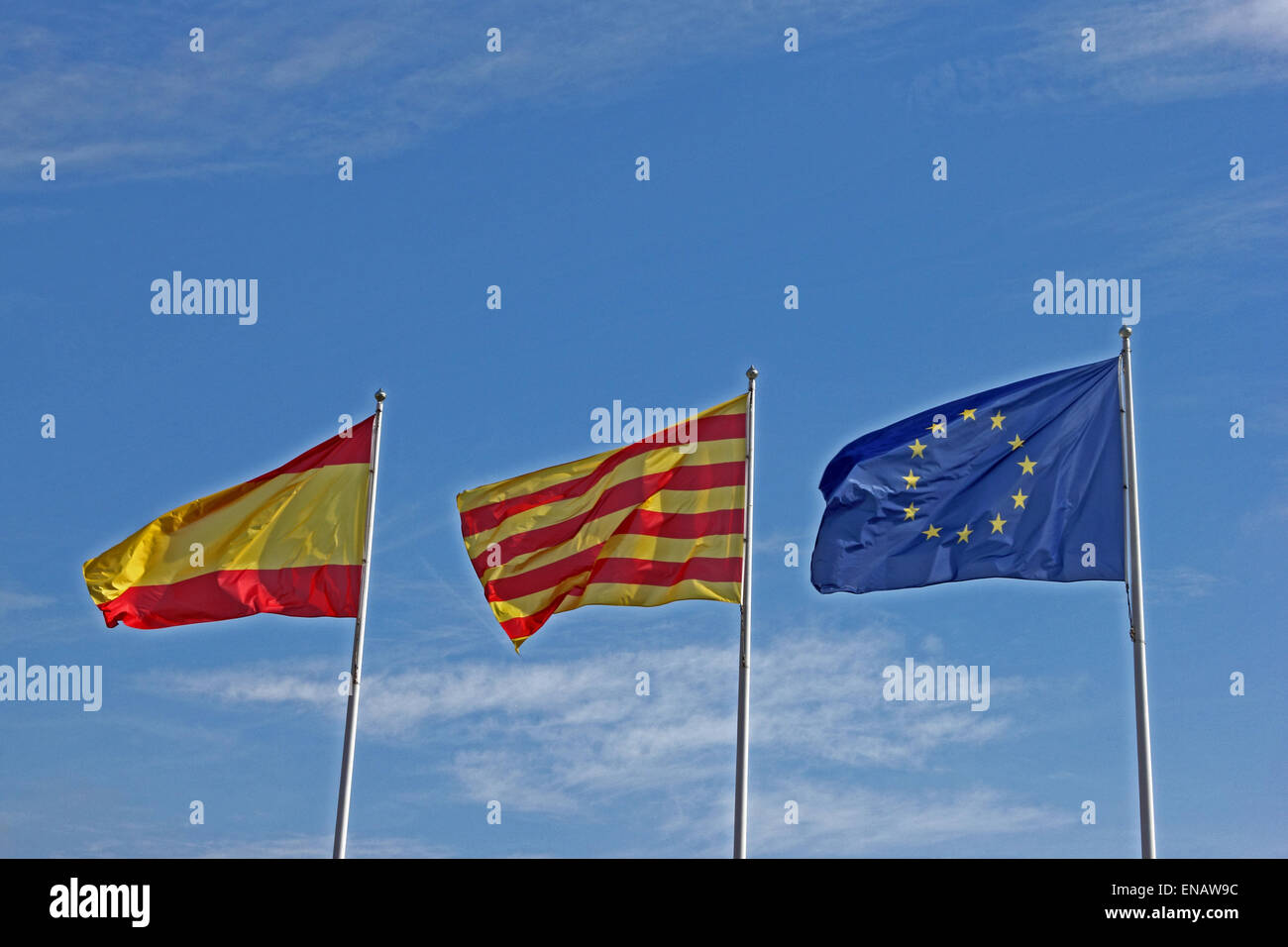 Catalan, Spanish and European Union flags. - Stock Image