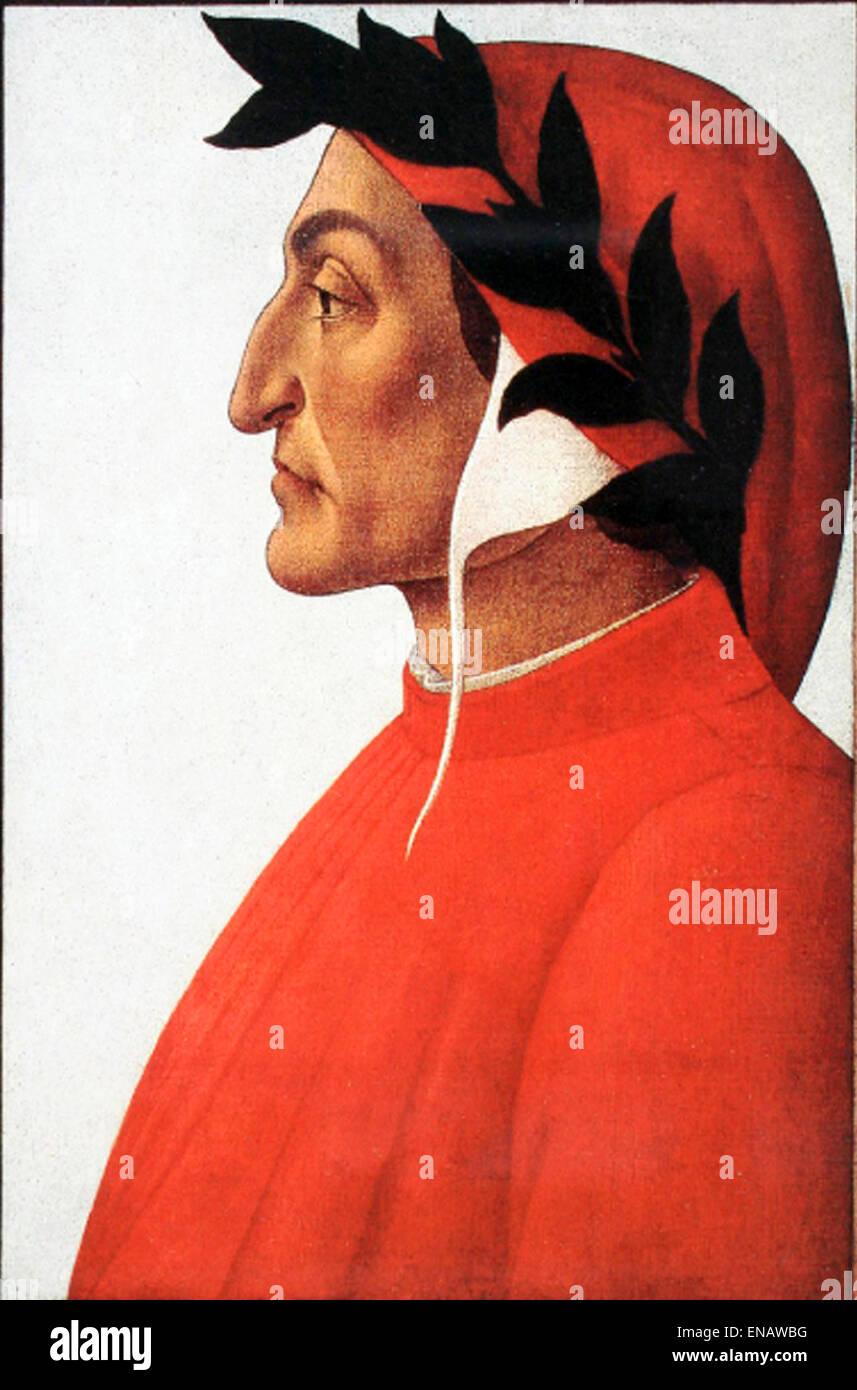 Durante degli Alighieri, simply called Dante, Italian poet of the late Middle Ages. Dante Alighieri's portrait - Stock Image