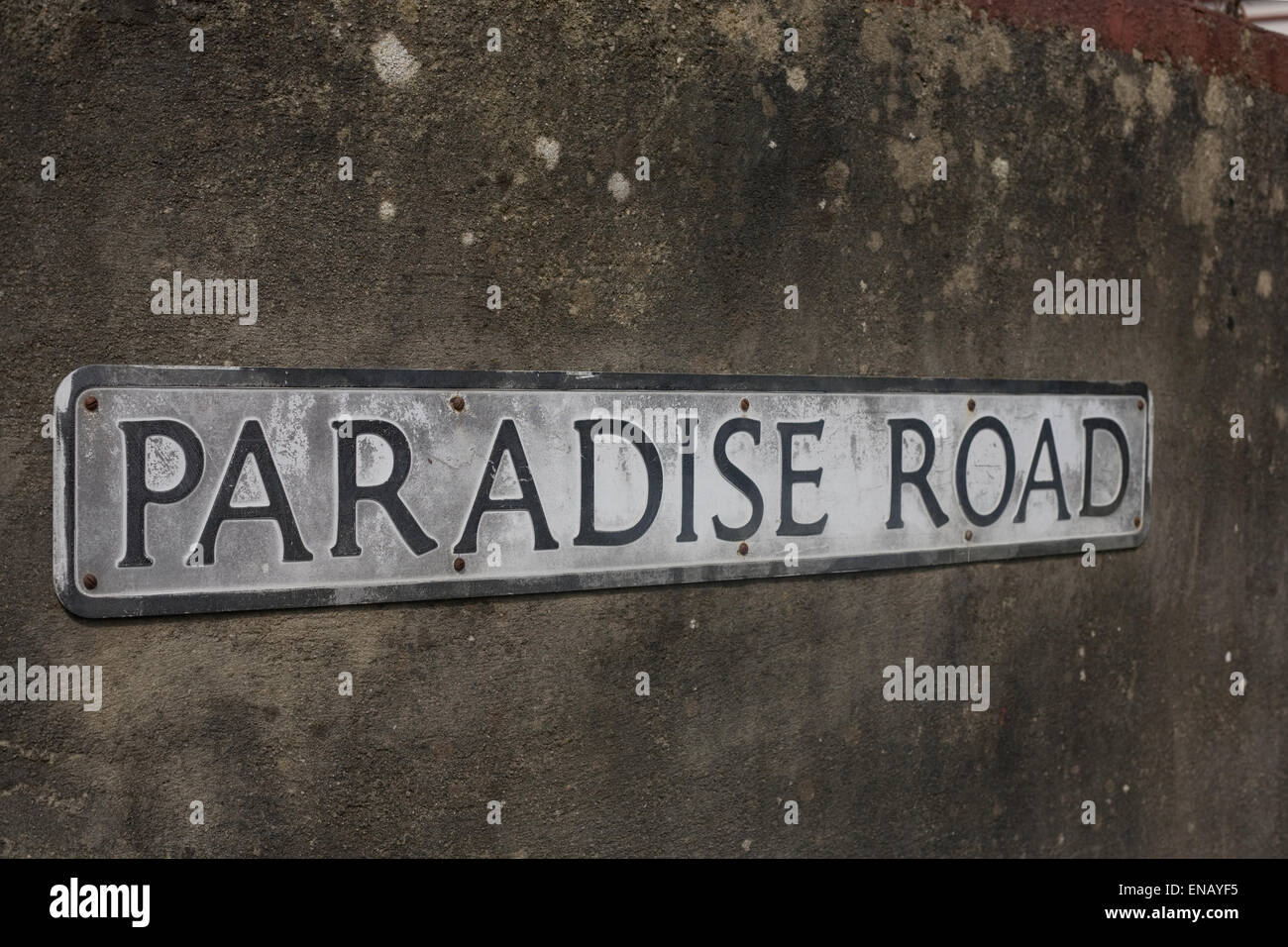 Sign of Paradise Road in Teignmouth Devon England - Stock Image