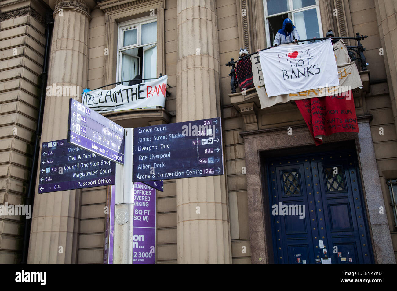 Liverpool, Merseyside, 1st May, 2015. Homeless Demonstrators occupying old Bank of England Building in Castle Street. - Stock Image