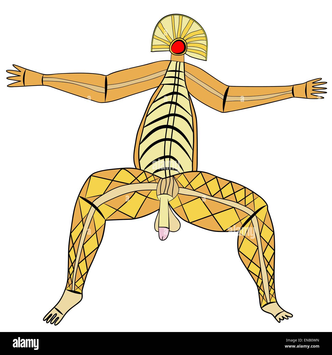 Primitive figures looks like cave painting - primitive art - deity of virility - vector - Stock Image