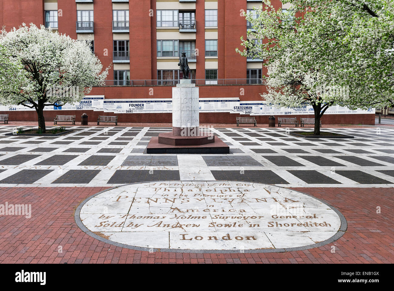 Welcome Park dedicated to William Penn, Philadelphia, Pennsylvania, USA - Stock Image