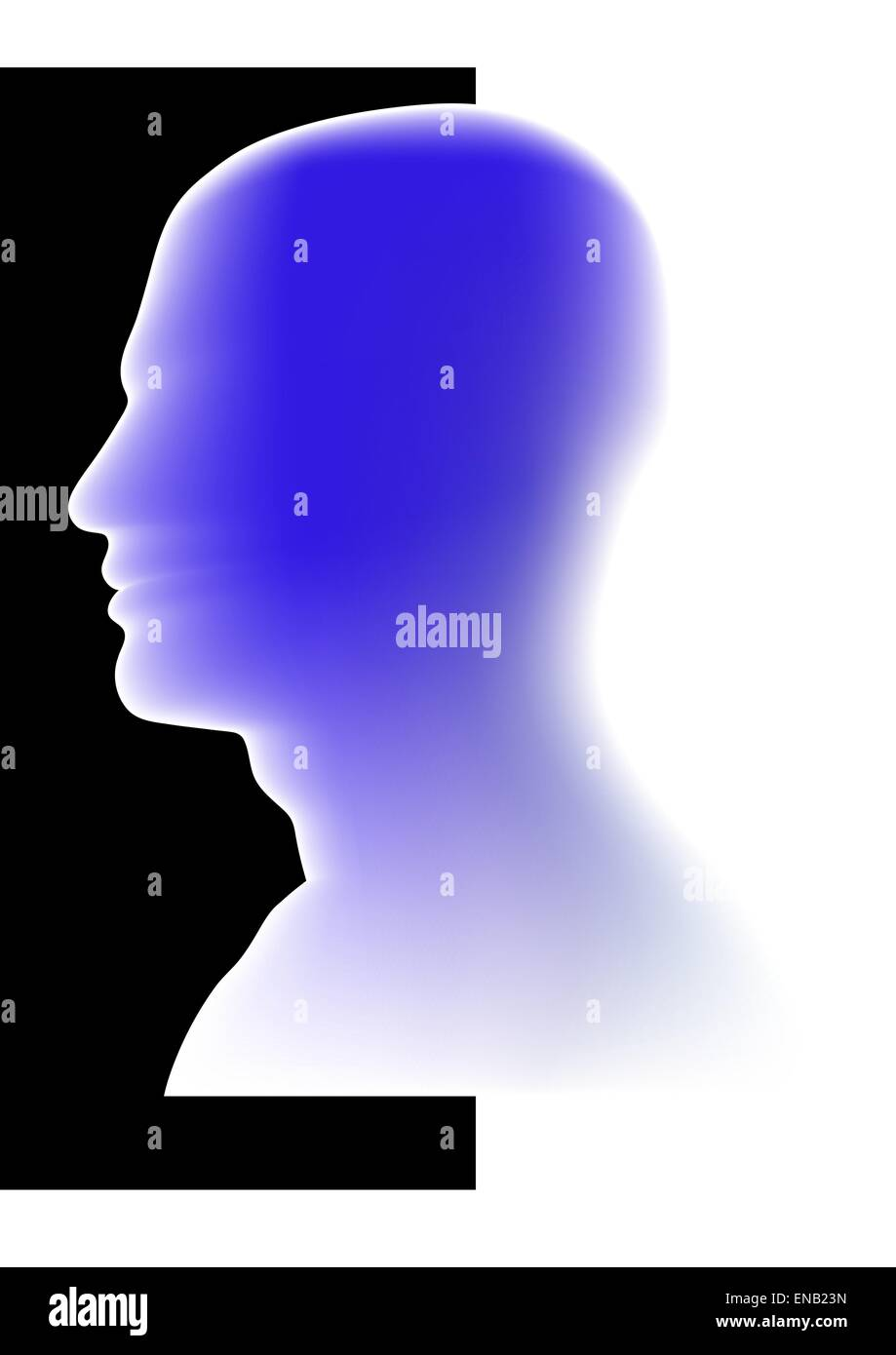Abstract image - Glowing  Head - Intelligence - Idea - Stock Vector
