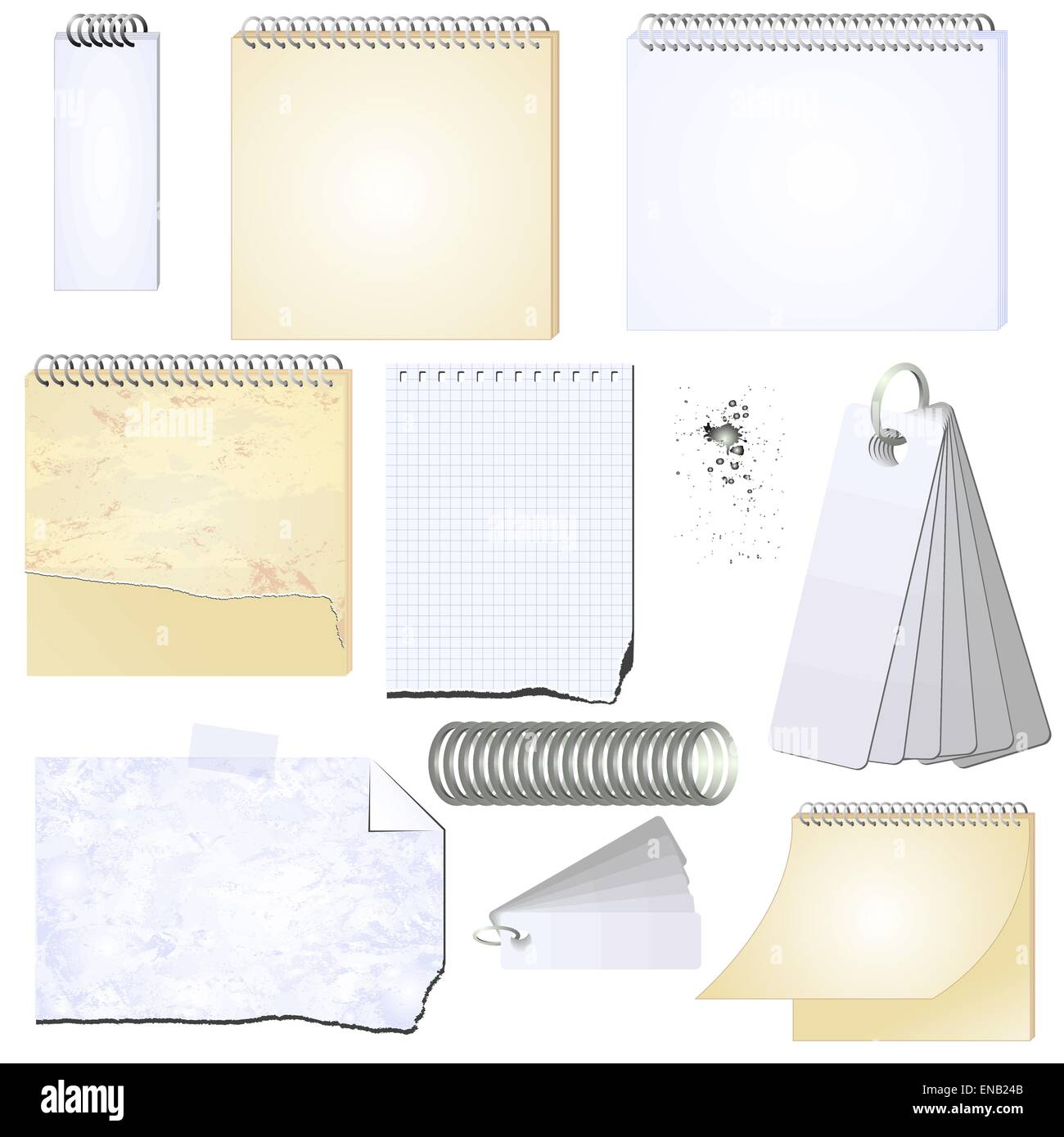 Vector illustration of the vector grunge notepad and scrap book  - isolated - Stock Vector
