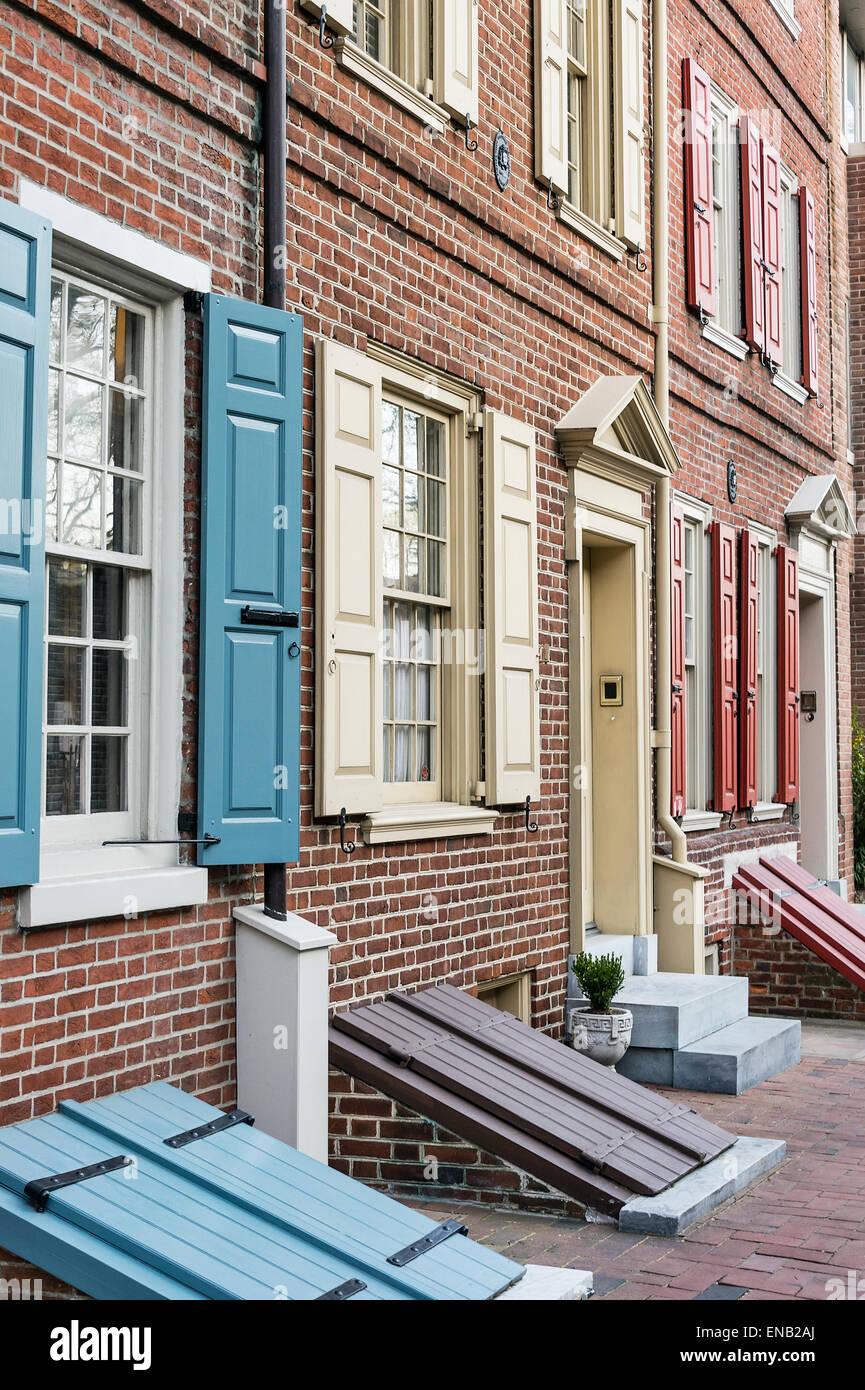 Townhouse in Society Hill, Philadelphia, Pennsylvania, USA - Stock Image