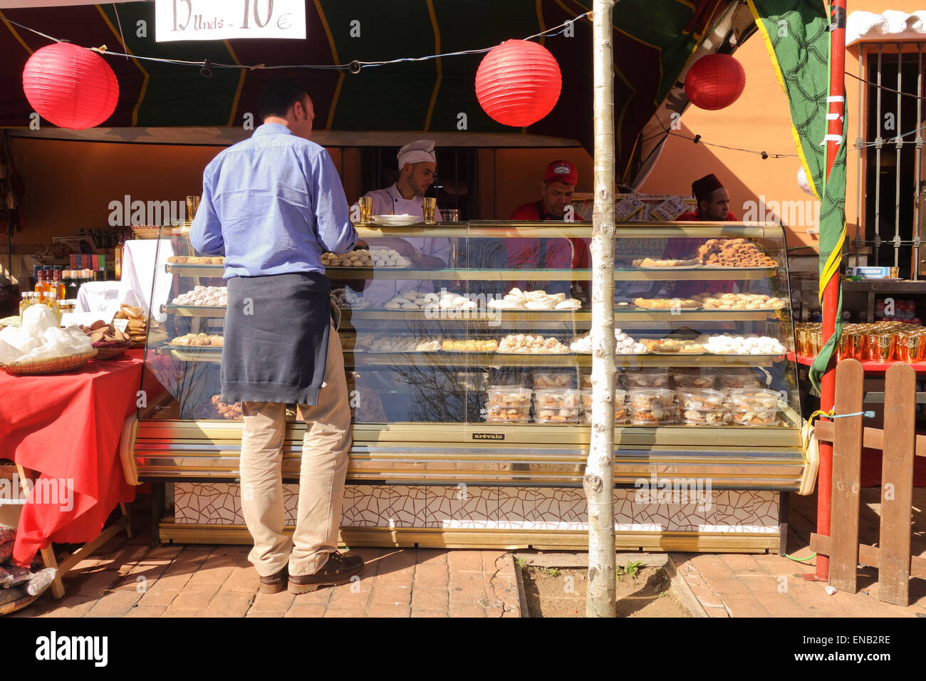 Moroccan food stand at International fair promoting countries culture and products, Fuengirola, Spain. Stock Photo