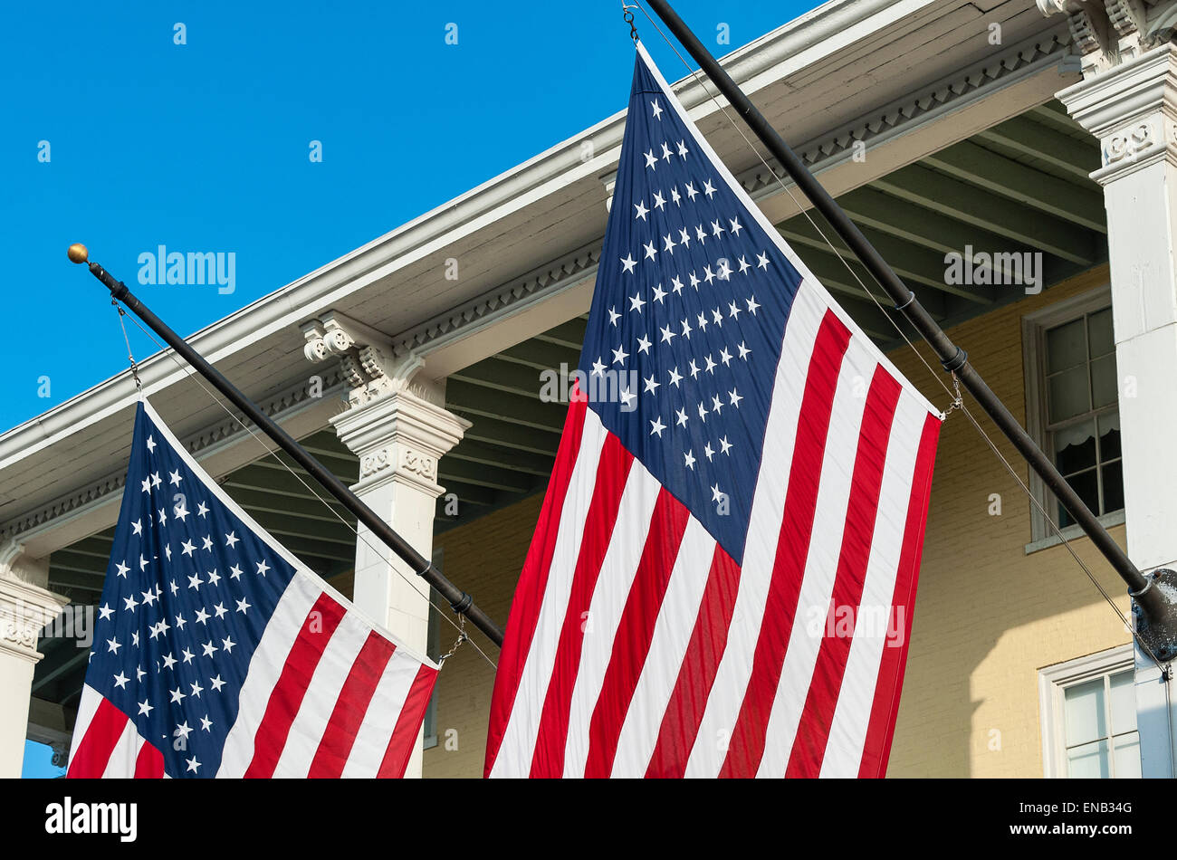 Detail of American flags on the exteruor of Congrass Hall, Cape May, New Jersey, USA. - Stock Image