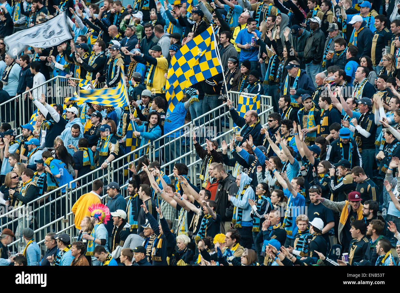 MLS soccer fans cheer a goal. - Stock Image