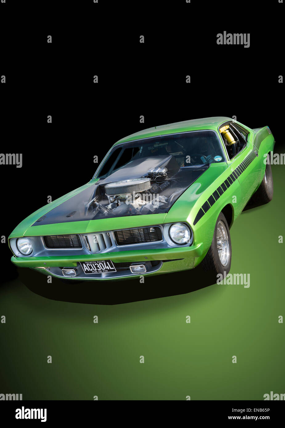 Plymouth Barracuda graphical green to black background - Stock Image