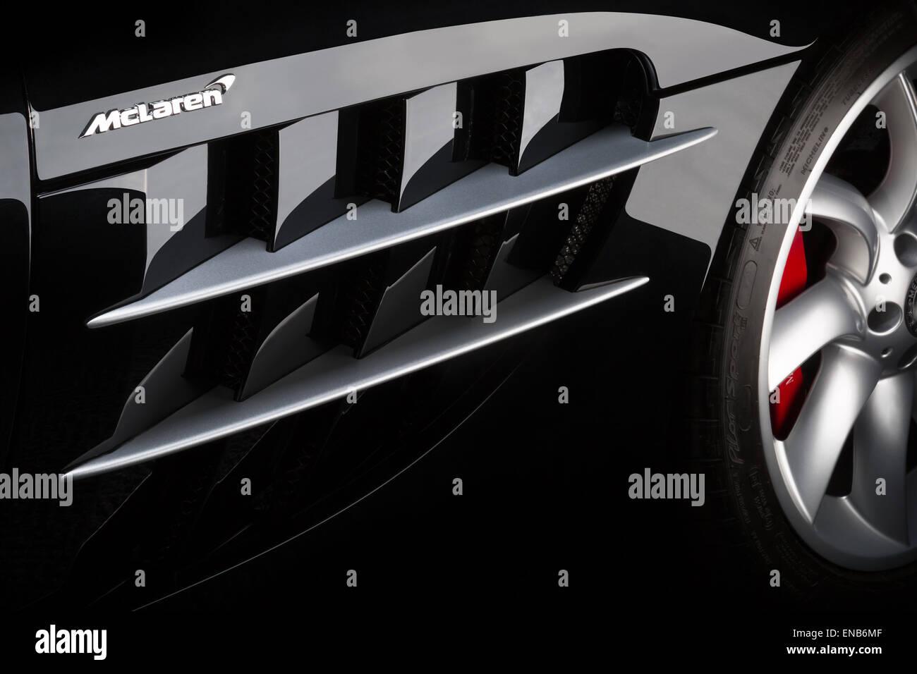 McLaren SLR in black, classical detail shot of side vent details. - Stock Image