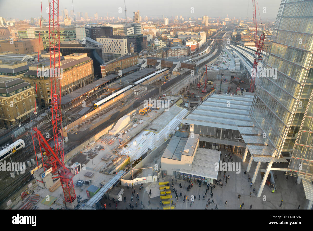 London Bridge Station construction work seen from above - Stock Image