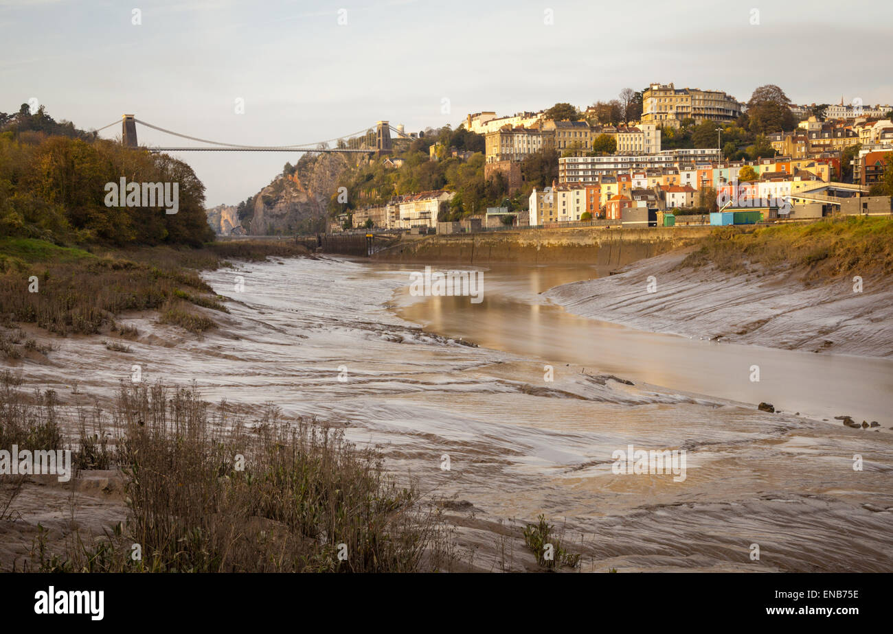 A view of Clifton Suspension Bridge (left) and Clifton (right) in Bristol, UK - Stock Image