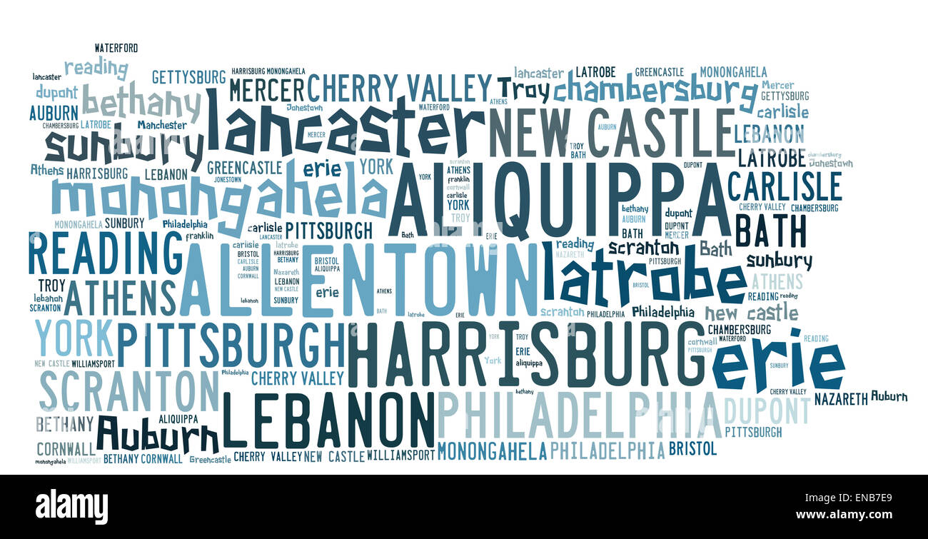 Word Cloud in the shape of Pennsylvania listed cities in the state - Stock Image