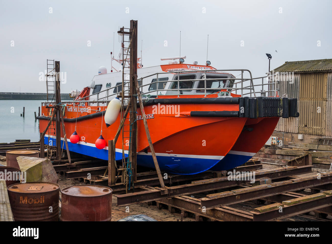 Boat in slips Enterprise North Sea Logistics Ramsgate Harbour Kent - Stock Image