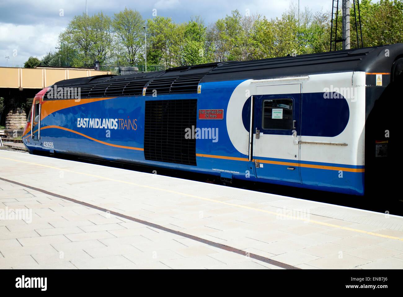 East Midlands Trains HST service at Leicester station, UK - Stock Image