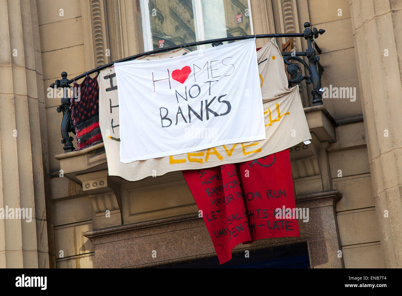 Liverpool, Merseyside, 1st May, 2015. Homeless Demonstrators occupy Bank Building in Castle Street. In new tactics - Stock Image