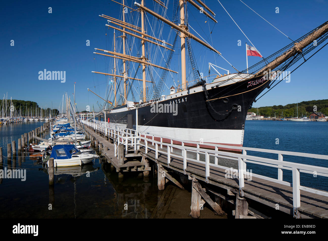 The museum sailing ship Passat, a German four-masted steel barque at Travemünde, Hanseatic town Lübeck, - Stock Image