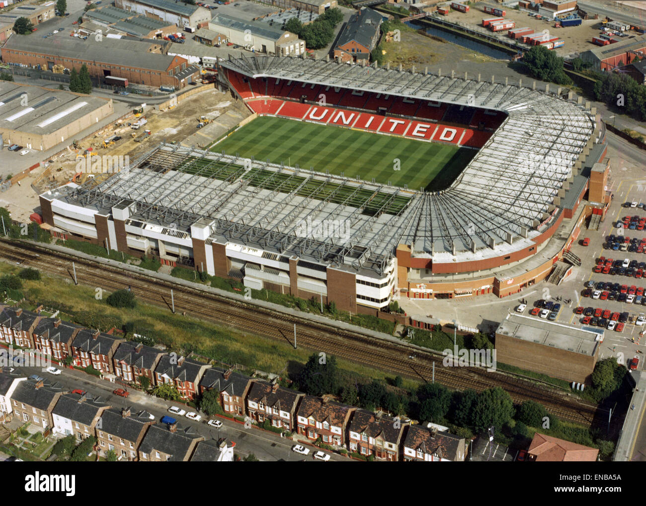 Aerial view of Old Trafford after the demolition of the Stretford End, at the close of the 1992 season to comply - Stock Image