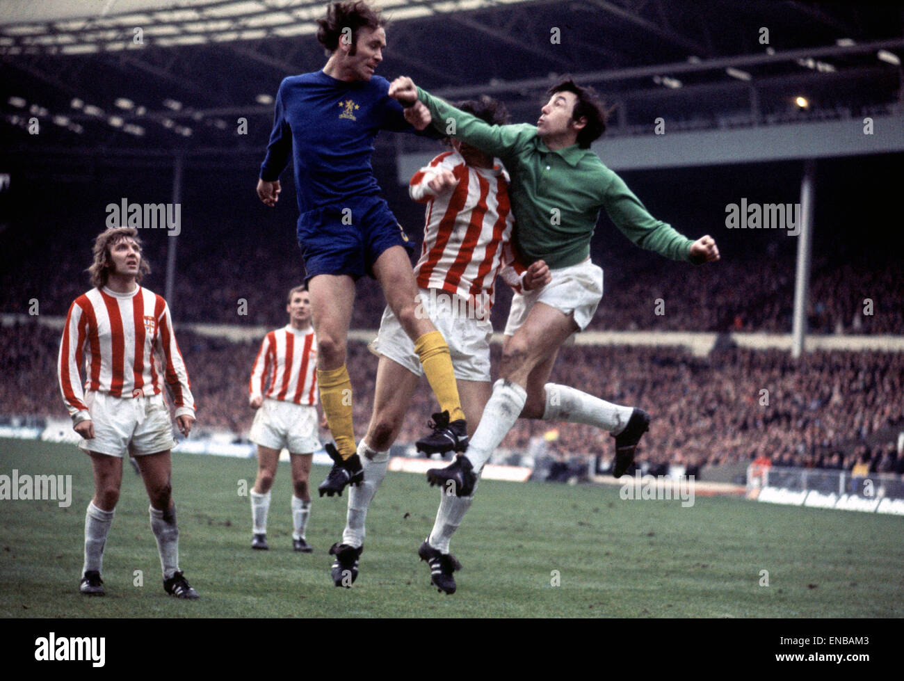 League Cup Final. Stoke City 2 v. Chelsea 1. John Dempsey and Gordon Banks. 4th March 1972. - Stock Image