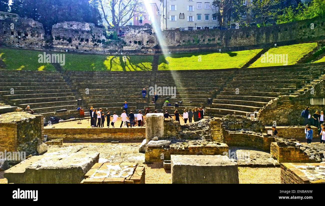 Trieste, Italy - Rehearsal of school performance of Ovid's Metamorphoses in ancient roman theater - Stock Image