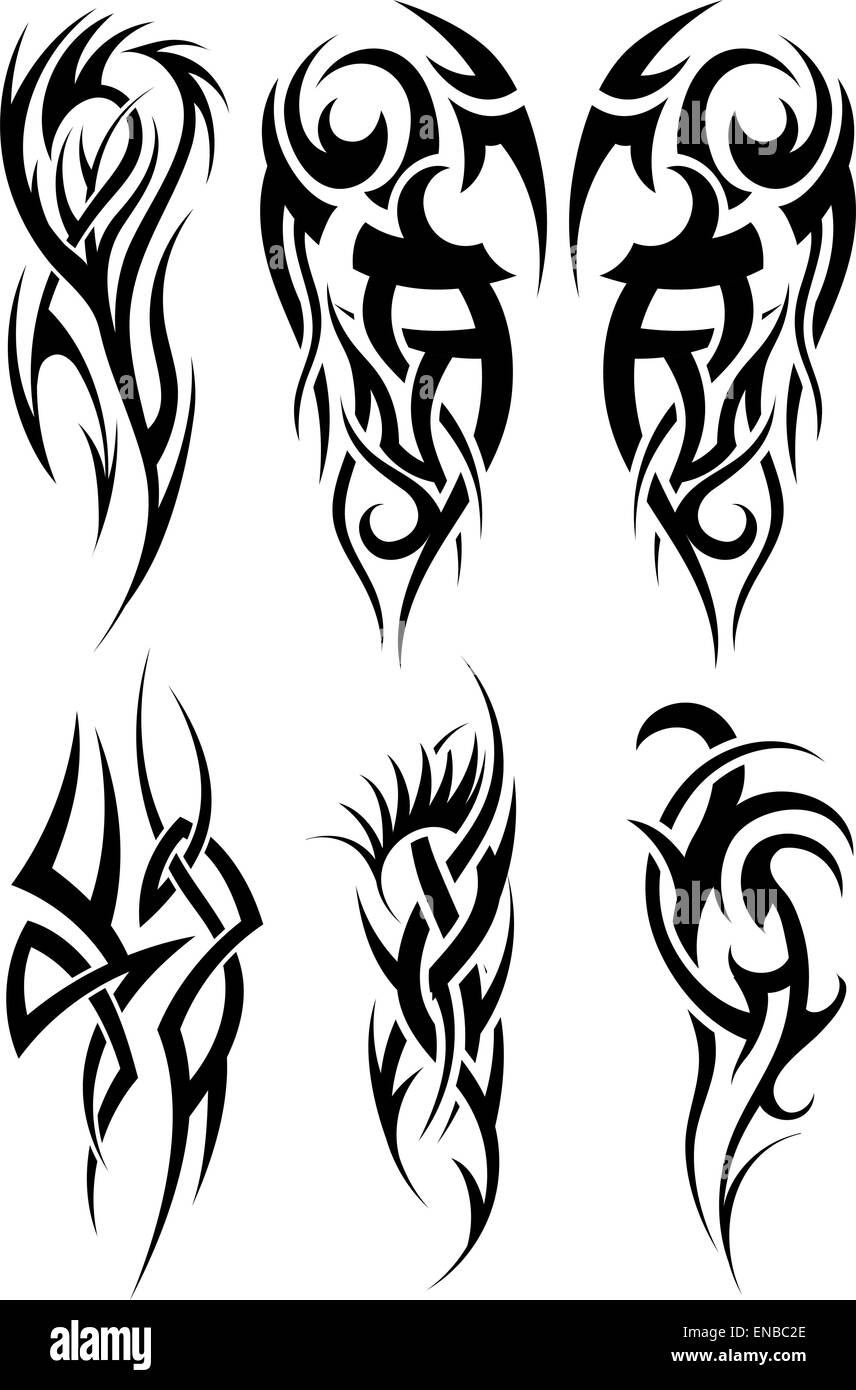 Set of tribal tattoos. EPS 10 vector illustration without Stock ...