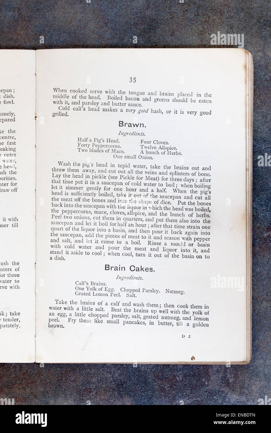 Brawn and Brain Cakes recipes from Plain Cookery Recipes Book by Mrs Charles Clarke for the National Training School - Stock Image