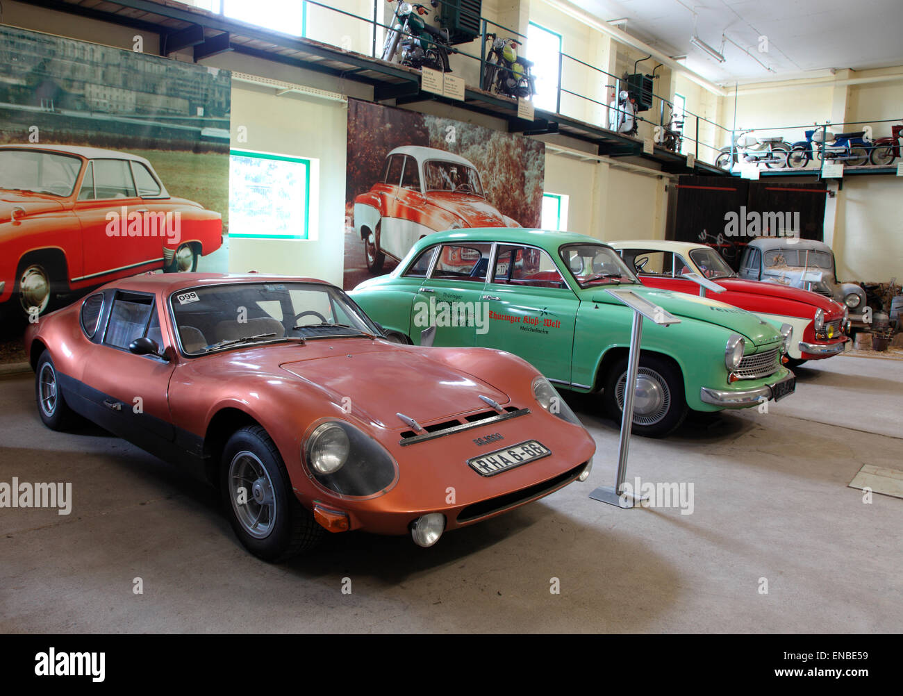 Vintage East German Eisenacher automobiles on display at the Thuringer Dumpling Museum. - Stock Image
