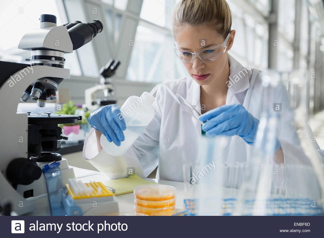 Focused scientist adding liquid to test tube - Stock Image