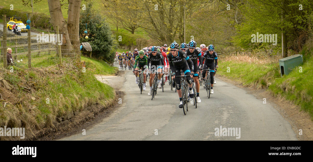 North Yorkshire, UK, 1st May, 2015. Team Sky climb a hill in during the Tour de Yorkshire cycling race. Stock Photo
