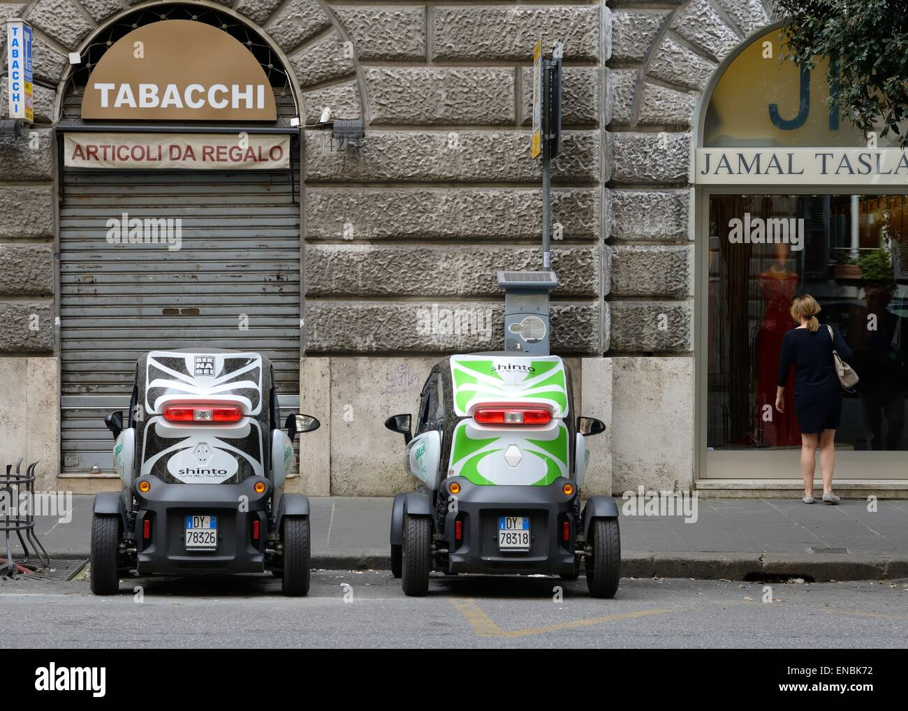 Two Renault Twizy cars parked side by side in Rome, Italy Stock Photo