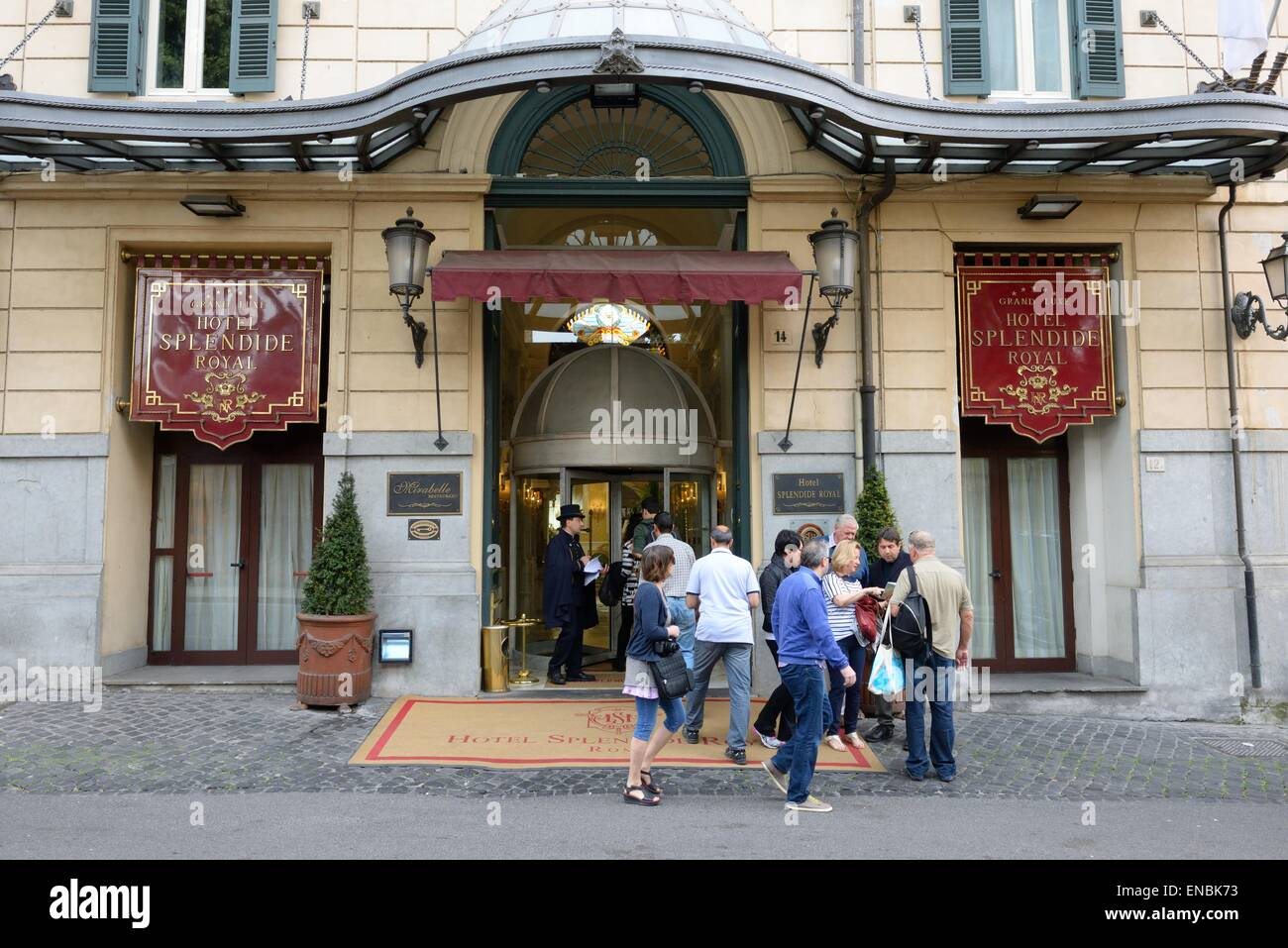 People At The Entrance To The Grand Lux Hotel Splendide Royal In