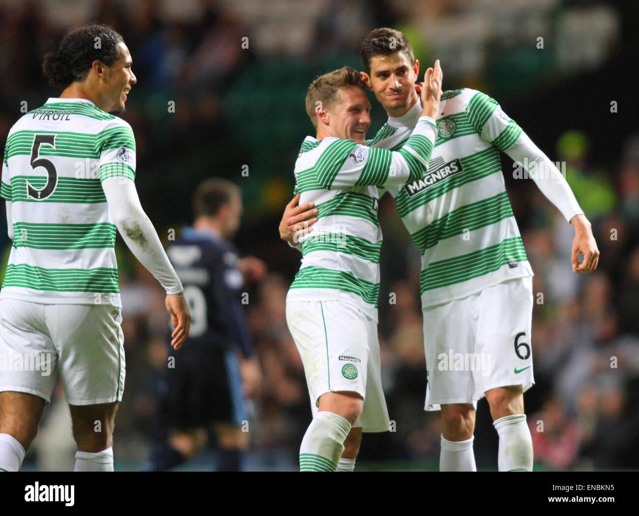 Glasgow, Scotland. 01st May, 2015. Scottish Premiership. Celtic versus Dundee. Nir Bitton celebrates his goal to - Stock Image